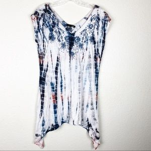 RXB Red, White & Blue Embroidered Tunic Blouse
